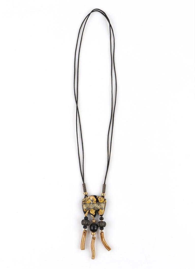 Women's ANNE & FRANK VIGNERI Black Gold Metallic Beaded Lucite Art Pendant Cord Necklace For Sale