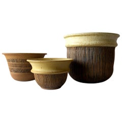 Anne Goldman California Studio Stoneware Planter Trio