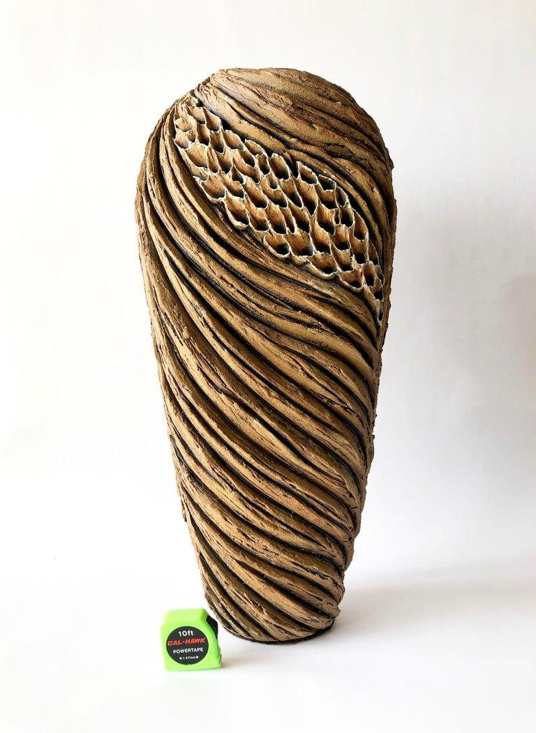 Mid-Century Modern Anne Goldman Large Scale Organic Carved Ceramic Sculptural Form For Sale