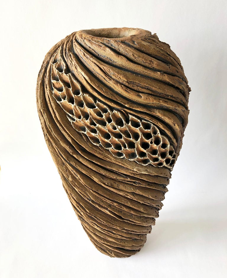 American Anne Goldman Large Scale Organic Carved Ceramic Sculptural Form For Sale