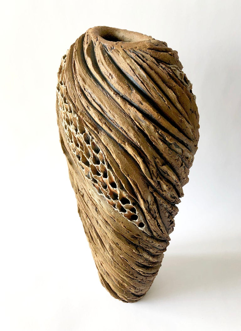 Anne Goldman Large Scale Organic Carved Ceramic Sculptural Form In Good Condition For Sale In Pasadena, CA