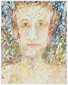 """""""Head"""" Expressionist Oil on Canvas Portrait of Male with Blue and Green, 1975"""