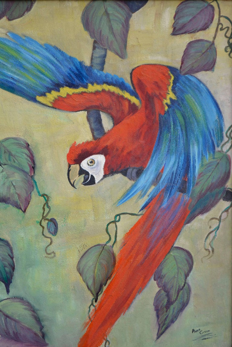 Scarlet Macaw Takes Flight by Anne Green For Sale 2
