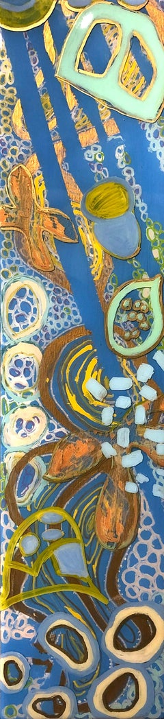 """""""Blue Lagoon (4)"""" Abstract mixed media painting on panel with blue and gold"""