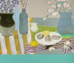 Bluebells and Oysters by Anne Harney, Pink and Blue Fauvist Still Life Painting