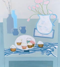 Cupcakes and Tulips by Anne Harney, Pink & Blue Contemporary Still Life Painting