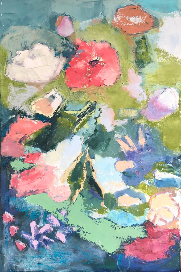 """Anne Harney Still-Life Painting - """"Floral 1"""" impressionist style still life oil painting with pink, purple, green"""