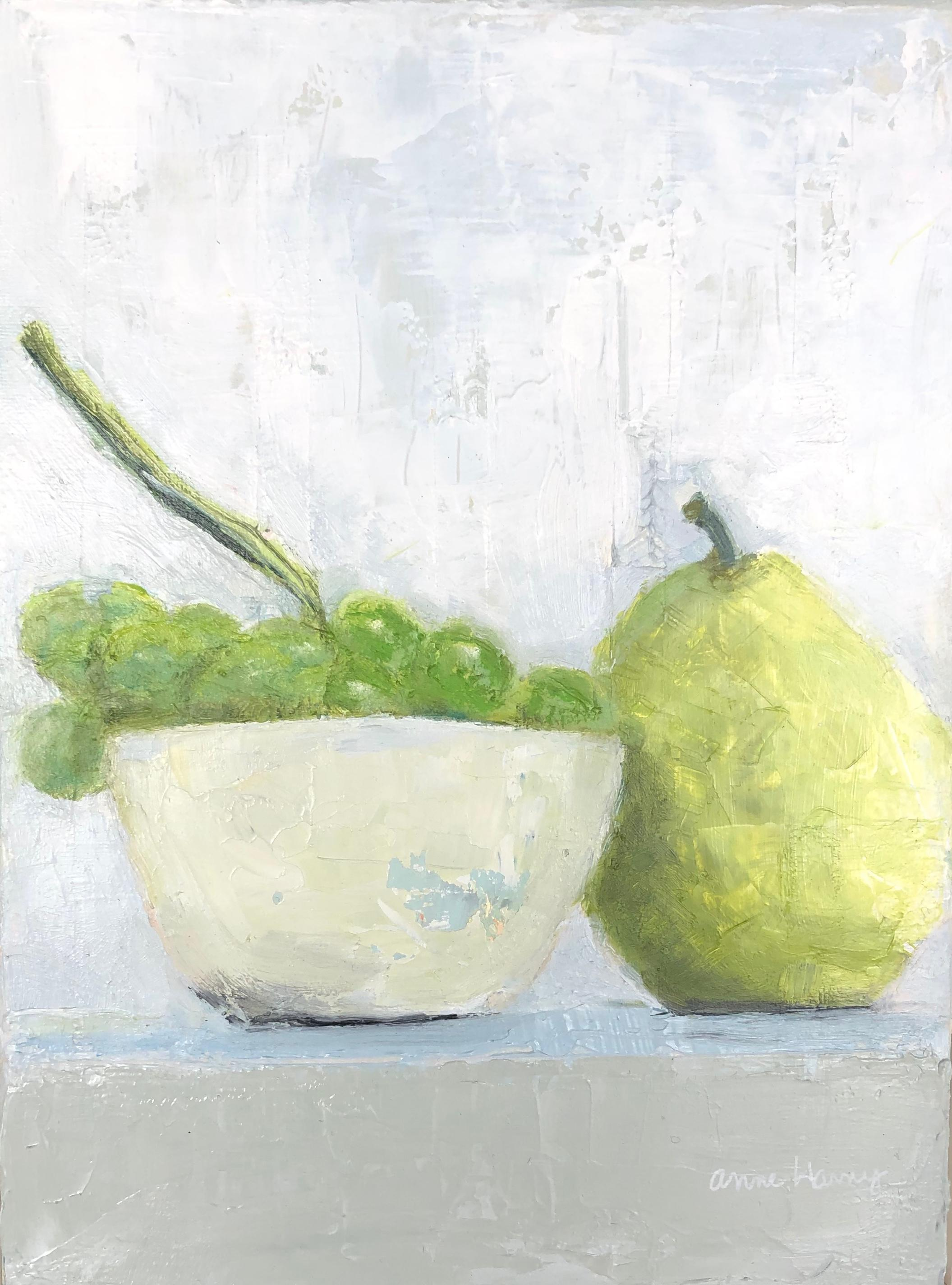 """""""Grapes and Pear"""" impressionist style still life of green grapes in white bowl"""