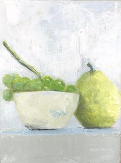 """Grapes and Pear"" impressionist style still life of green grapes in white bowl"