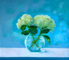 """Hydrangeas"" oil painting of two white hydrangeas and a clear vase blue behind"