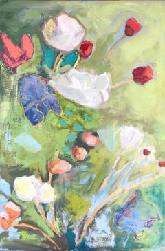 """Into the Garden"" impressionist style still life oil painting with green, white"
