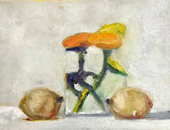 """""""Kiwi and Mums"""" oil painting of orange flowers in a glass vase with two kiwis"""