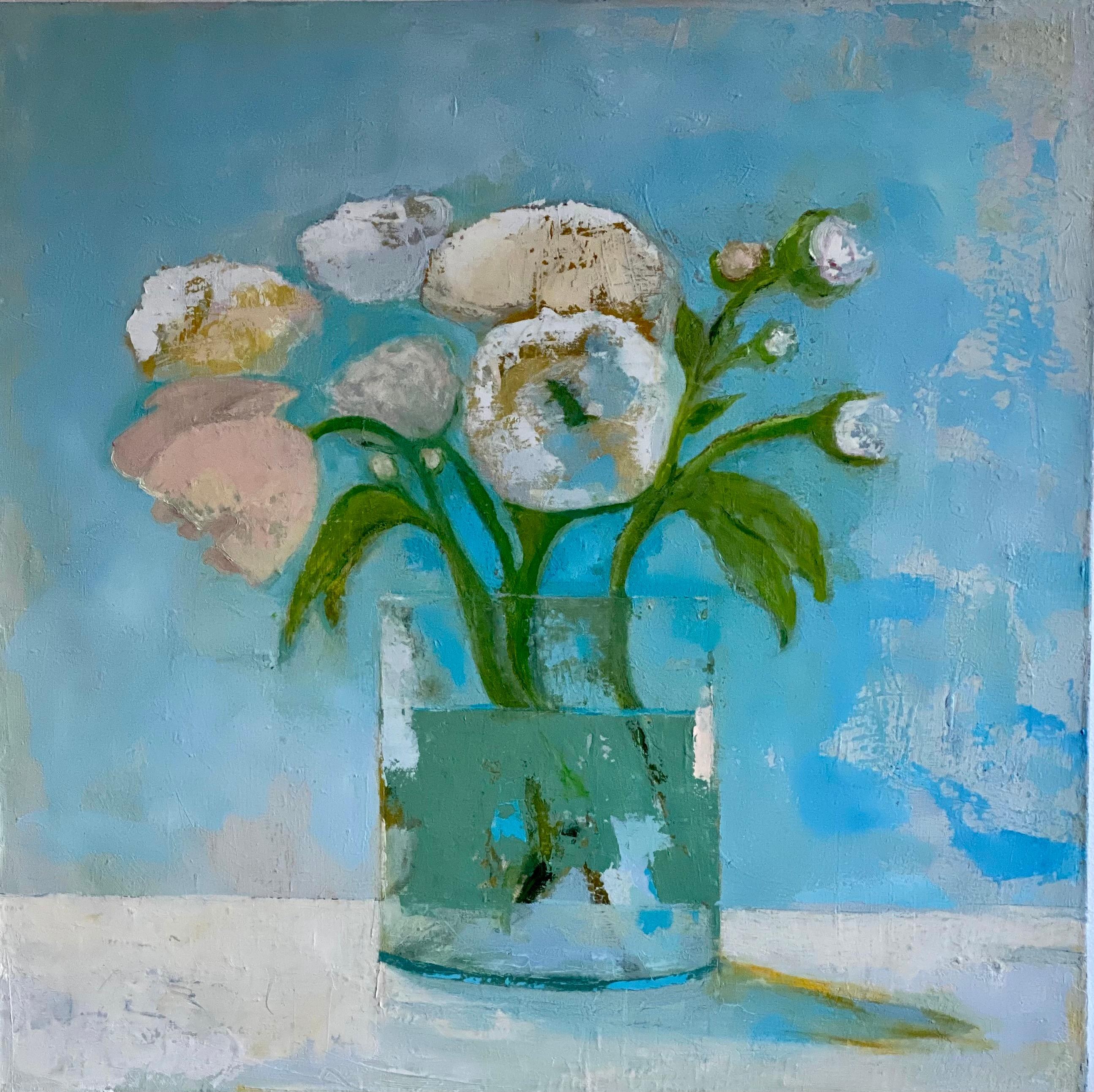 """""""Late Morning"""" still life oil painting of pink peonies with blue background"""