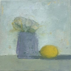 """Lemon and Flowers"" Small-Scale Muted Still-Life in Blues and Grays"