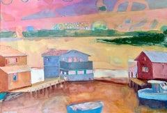 """Menemsha Basin"" oil painting of Martha's Vineyard Harbor in pastel colors"