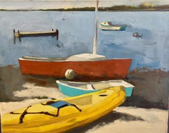"""Menemsha Kayak"" Brightly Colored Boats on a Beach with Muted Seascape Hues"