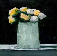 Mums in Gray Vase by Anne Harney, Contemporary Floral Still Life Painting