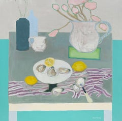 Oysters and Tulips by Anne Harney, Pink & Blue Contemporary Still Life Painting