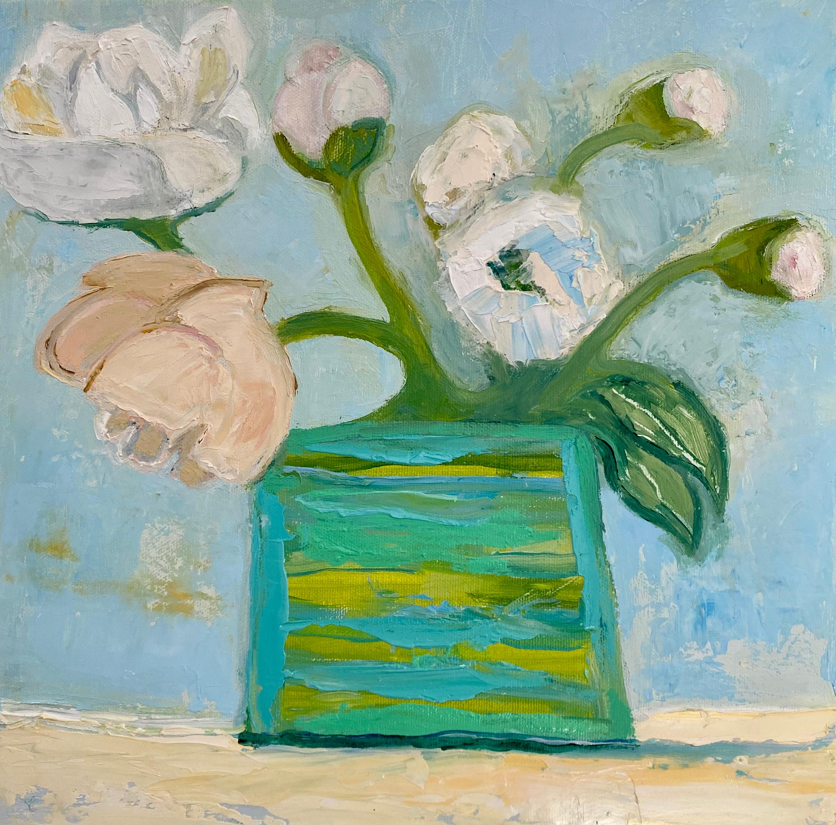 """""""Peonies"""" oil painting of white and pink peonies in a green vase"""