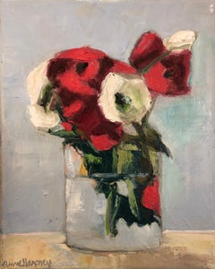 """""""Persian Rose"""" oil painting of white and red roses in a glass vase"""