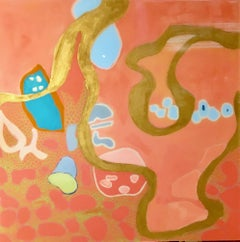"""Philbin Beach Walk 2"" Abstract mixed media coral, turquoise and gold with resin"