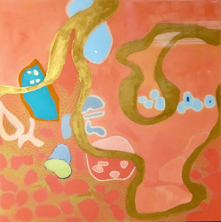 """Anne Harney Abstract Painting - """"Philbin Beach Walk 2"""" Abstract mixed media coral, turquoise and gold with resin"""