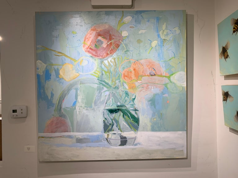 Ranunculus by Anne Harney, Square Pink and Blue Still Life Floral 1