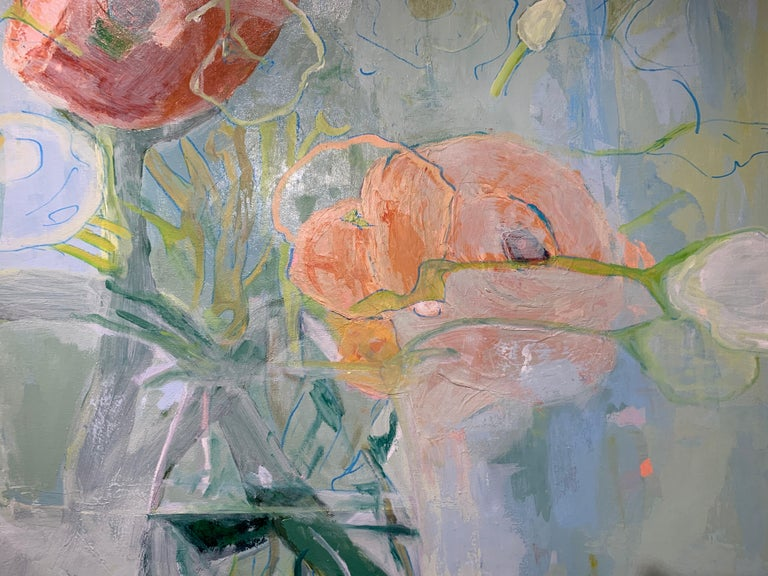 Ranunculus by Anne Harney, Square Pink and Blue Still Life Floral 3