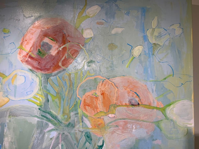 Ranunculus by Anne Harney, Square Pink and Blue Still Life Floral 4