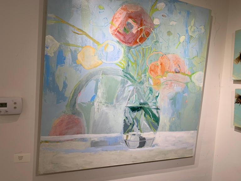 Ranunculus by Anne Harney, Square Pink and Blue Still Life Floral 5