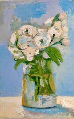 """""""Roses and Peonies"""" oil painting of pink roses and white peonies in a glass vase"""