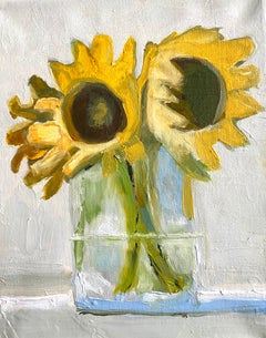 """""""Sunflowers"""" small scale oil painting of a yellow sunflowers in a glass vase"""