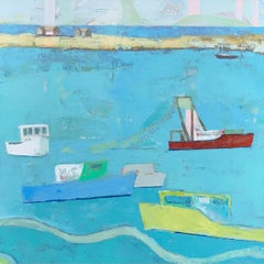 The Trawler by Anne Harney, Pink & Blue Contemporary Oceanscape Painting