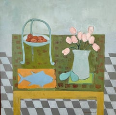 Tulips and Tuna by Anne Harney, Square Pink and Blue Fauvist Still Life Painting