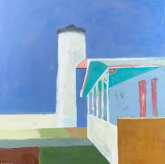Vineyard Lighthouse by Anne Harney, Pink Contemporary Landscape Painting