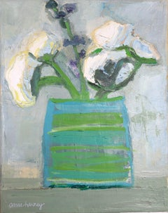 """""""White Mums"""" still life oil painting of white flowers in a green and blue vase"""