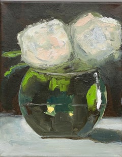 """""""White Roses in Round Vase"""" oil painting of white flowers in a round vase with"""