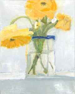 """Zinnias"" impressionist style still life oil painting of yellow flowers in vase"