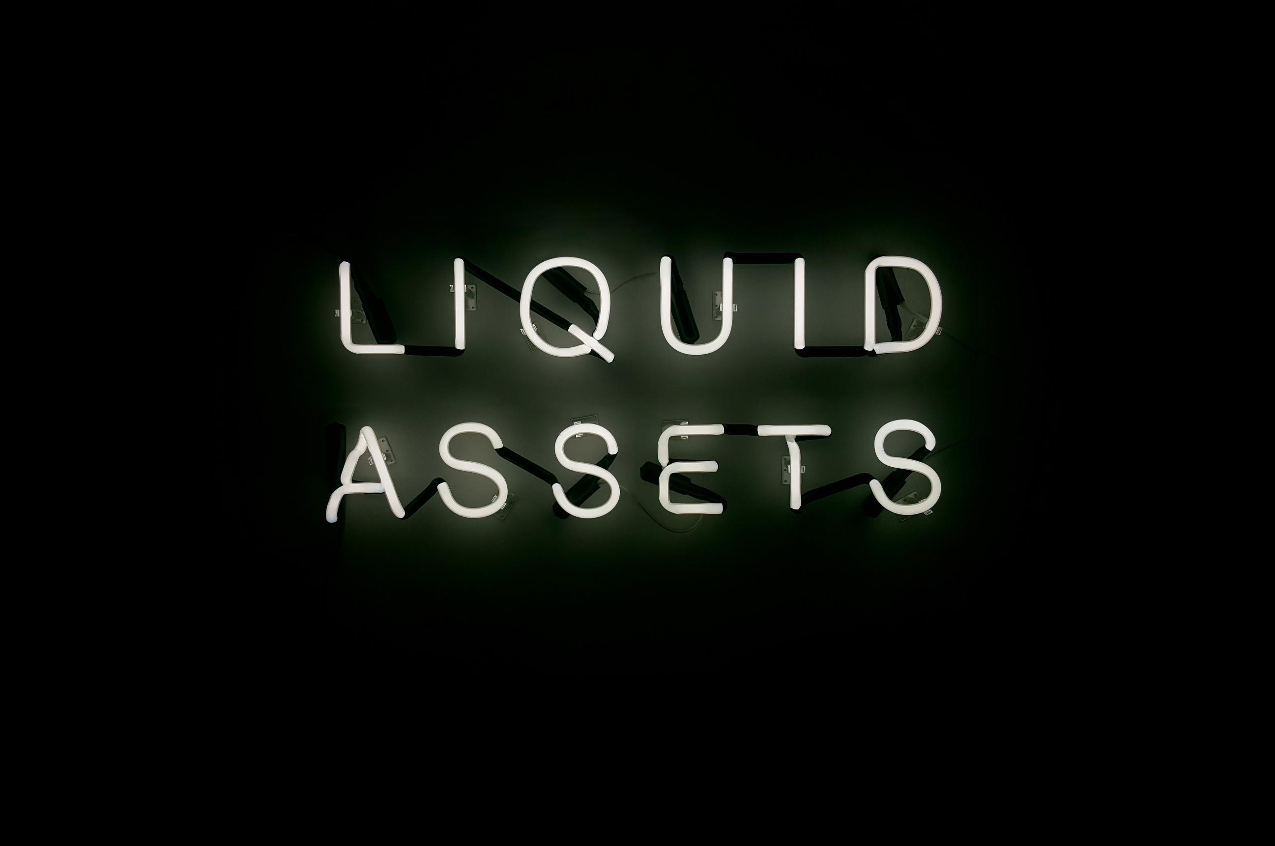 'Liquid Assets' Text-based White Neon Sign Light Lighting Art Sculpture Words