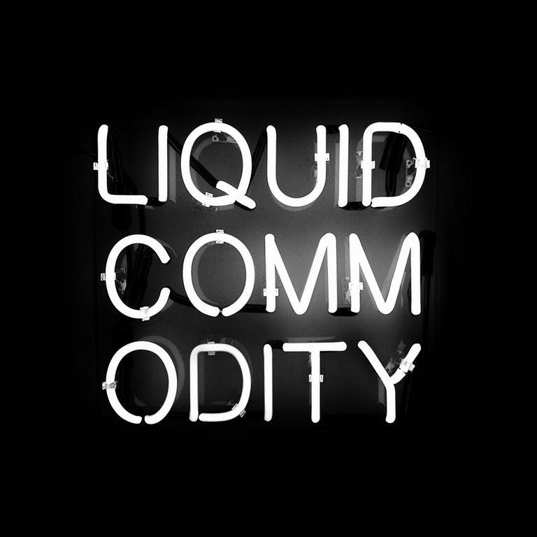 Anne-Katrine Senstad Figurative Sculpture - 'Liquid Commodity' Text-based White Neon Sign Light Lighting Art Sculpture Words