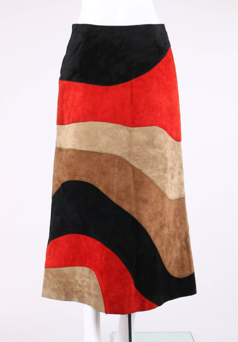 Women's ANNE KLEIN c.1970's Red Black Brown Colorblock Suede Leather A Line Skirt For Sale