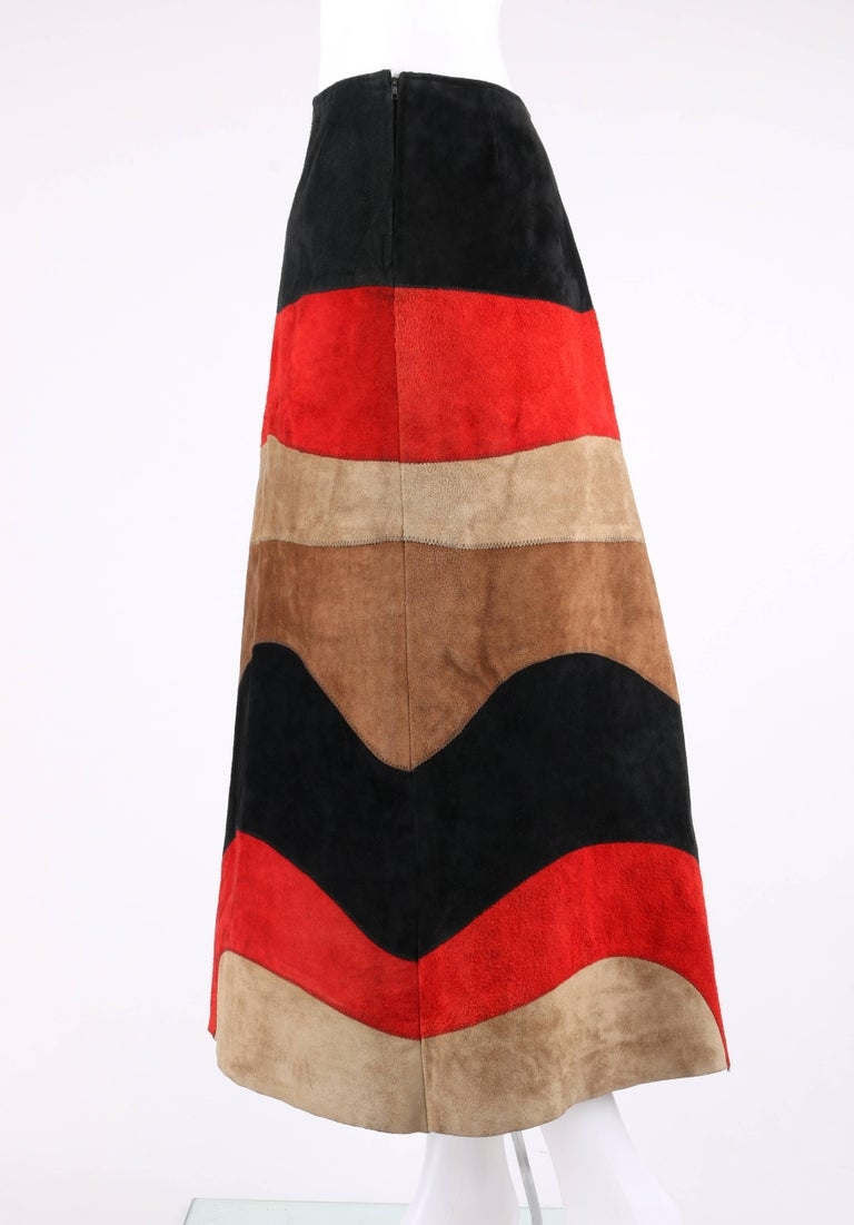 ANNE KLEIN c.1970's Red Black Brown Colorblock Suede Leather A Line Skirt For Sale 1