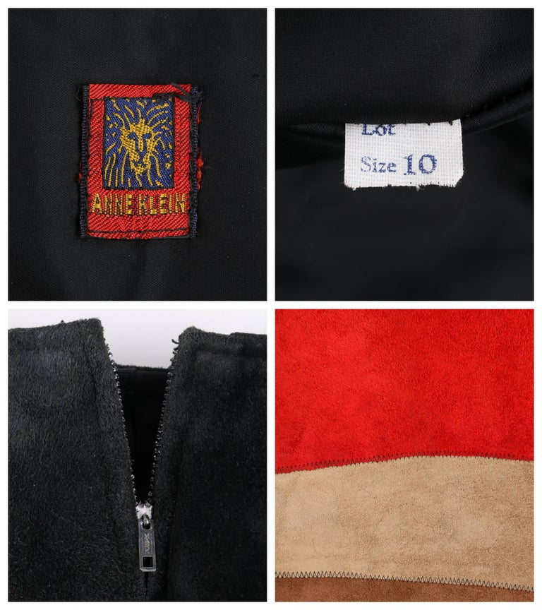 ANNE KLEIN c.1970's Red Black Brown Colorblock Suede Leather A Line Skirt For Sale 2