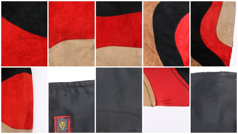 ANNE KLEIN c.1970's Red Black Brown Colorblock Suede Leather A Line Skirt For Sale 3