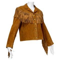 Anne Klein Cinnamon Suede Fringed Western Shirt Jacket – S-M, 1970s