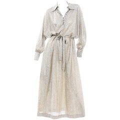Anne Klein for Lily of France Silver Lurex 1970s  Belted Long Loungewear Dress