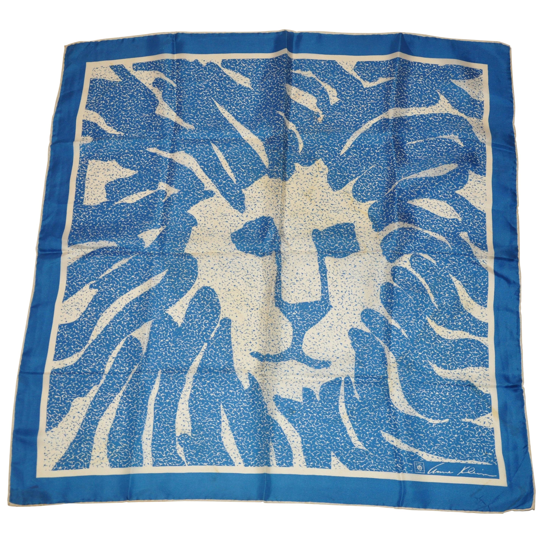 Anne Klein for Robinson & Golluber Lapis Blue & Ivory signature Logo Silk Scarf