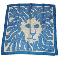 Anne Klein for Robinson & Golluber Lapis Blue & Ivory signature Logo Silk Scarf