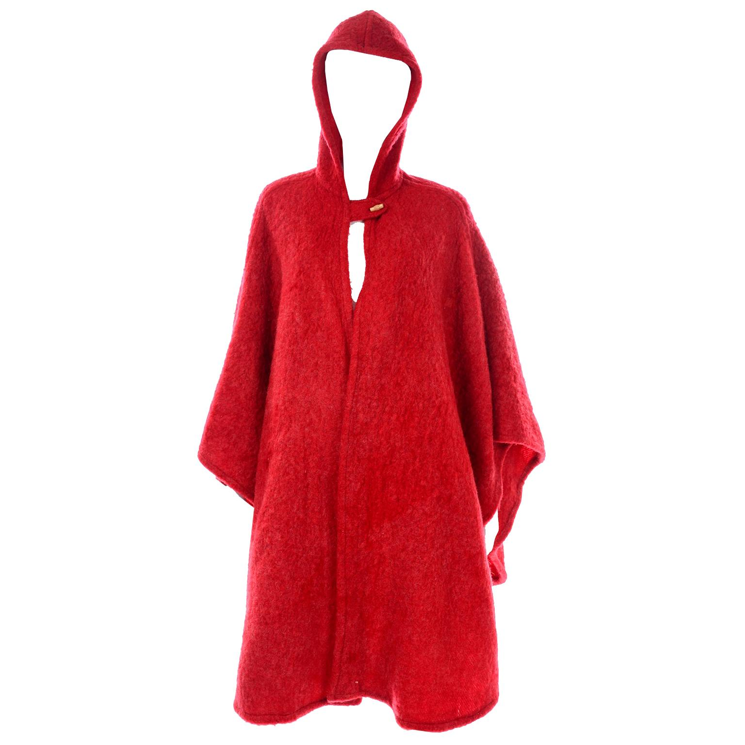 Anne Klein for Robinson & Golluber Vintage Red Felted Mohair Blend Cape W Hood