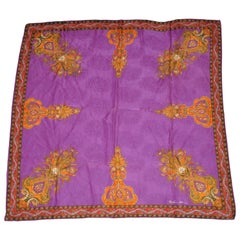 Anne Klein Glorious Rich Colorful Violet with Palsey Detailing Silk Scarf